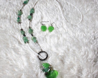 Jade and Whie Leaf Lariat Necklace and Earring Set Free US Shipping