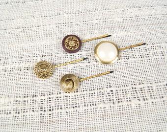 Hair pins, gold bobby set, bridal accessories, vintage bobby pins, button bobby set, hair clips, gold hair accessories, children hair pins