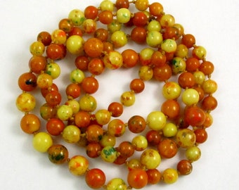 Art Deco Faux Amber Bead Long Flapper Knotted Necklace, Early Plastic