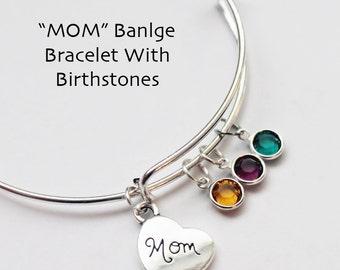 Bangle Bracelet.  MOTHERS DAY GIFT.  Mom. Heart Bracelet. BIrthstones.
