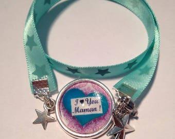 Jewellery Bracelets Support & fabrics stars blue TURQUOISE I LOVE YOU MOM charms