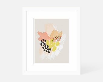 Modern Boho Wall Art / Colorful Abstract Wall Art / Orange Art Print Vertical / 5x7 8x10 11x14 16x20 18x24 / Matted and Framed