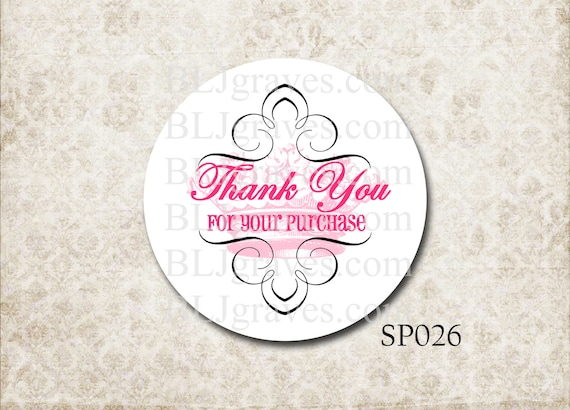 Custom personalized business stickers thank you for your purchase pink french crown business supplies from bljgraves on etsy studio