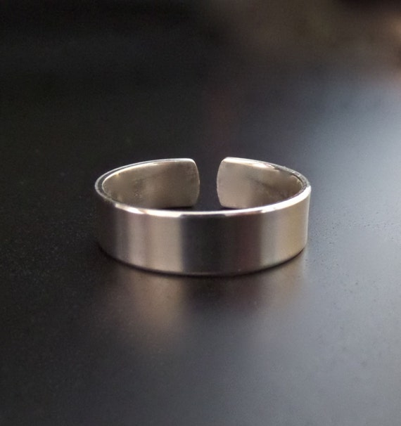"3/8"" STERLING 1 Polished or Unfinished RAW Ring Stamping Blank 18 Gauge Open Back 3/8 "" Wide Flat - Choose Size"