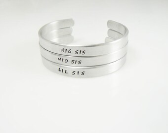 Big Sis - Lil Sis - Mid Sis - Set of 3 - Hand Stamped - Personalized Gift for Little Sister