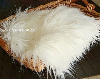 "Ivory Faux Fur, Newborn Fur Photo, Mongolian Faux Fur, Newborn Photo Prop, 3"" Pile, Baby Photo Prop. Layering Blanket."