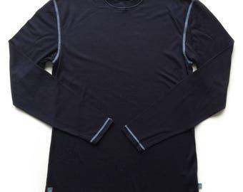 Midnight Blue Mens Merino Wool Long Sleeved Top | Mens Base Layer | Mens Thermal Wool Top | Merino Wool Base Layer