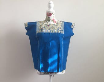 Mexican huipil blouse with hand embroidery from Chiapas, size medium in ocean blue