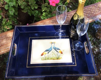 Serving Tray, Decorated with Mutinda Birds Print, Royal Blue with Gold line, FREE Shipping