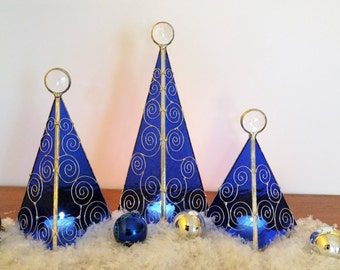 Only 2 left! Ready to Ship! Blue Holiday tree candle holder Christmas decor mantle tabletop decoration