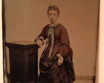 ON SALE Antique Tintype Photograph Young Woman Tinted Photo 1800's