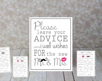 Please leave your Advice and Well Wishes Sign with Mad Libs Cards included in Set. Instant Download, Wedding Card DIY Printable File.