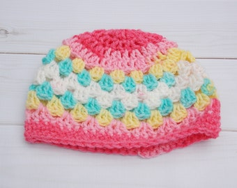 pastel stripes newborn baby infant girl crochet beanie Easter spring rainbow granny stitch stripes - pink coral white yellow light teal
