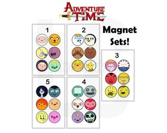 Adventure Time 6 Fridge Magnets per Set: Finn, Jake, Marceline, Princess Bubblegum, Ice King, Gunter, BMO, Lumpy Space Princess and more!