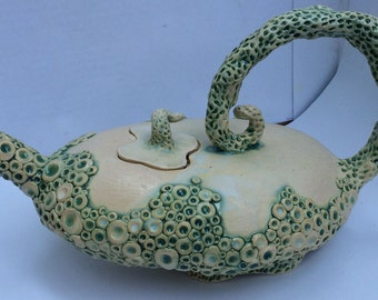 Sea bubbles teapot seafoam and white hand made ceramic