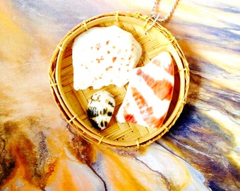 Necklace GENESIS -- little wicker basket pendant with shell fragments, original piece by All Things Natural