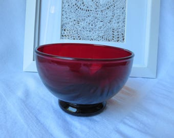 One Ruby Red Footed Flat Sherbet Bowl - Anchor Hocking Baltic Line Berry Bowl Hard to Find