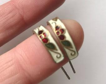 Vintage Hoop  Cloisonne Dangle  Earrings