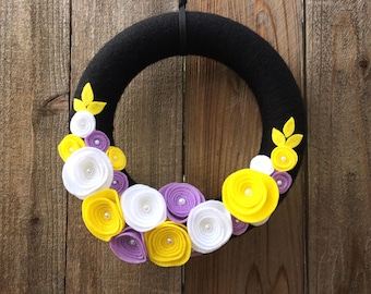 Farmhouse Shabby Chic Black Floral Wreath, Easter, Nursery