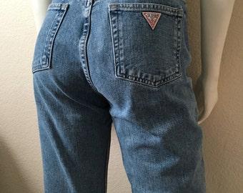 Vintage Women's 80's Guess, High Waisted, Skinny Jeans, Blue, Denim, Short (L)