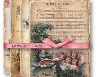 Vintage Christmas Digital Collage Sheet Download -804- Digital Paper - Instant Download Printables