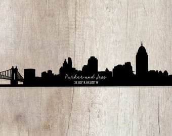 Cincinnati Cut Paper City Skyline coordinates, Cincinnati Skyline Cut paper,  Frameless Cut Cincinnati Skyline paper with coordinates