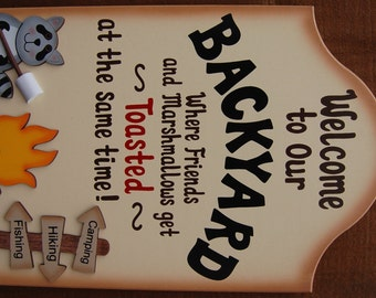 Personalized Funny Wood Backyard Sign - Where Friends and Marshmallows Get Toasted at the Same Time