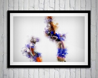 Odell Beckham Jr Touchdown Catch, New York Giants, Sports Portrait, Sports Print Art, OBJ