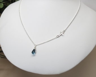 Birthstone Necklace With Sideways Cross, Custom Birthstone Necklace, 16-20 Inches Length, Sterling Silver Necklace, Keira's Crystal Creation