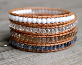 Beaded Leather Wrap Bracelet 4 Wrap with White Tan Clear and Gray Blue Czech Glass Beads on Natural Tan Leather