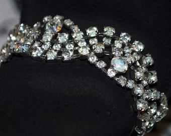 Kramer of NY rhinestone bracelet. Vintage rhinestone bracelet in abstract design. 1950-60 Kramer jewelry.