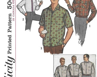 Simplicity 5029 Men's 60s Proportioned Shirt Sewing Pattern Neck 15 Chest 38 to 40