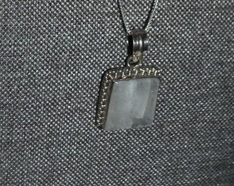 Genuine Moonstone Pendant in Sterling Silver