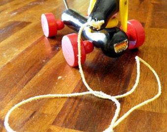 "Mid Century Brio (Sweden) Weiner Dog Pull Toy--Original Sticker--9"" Long x 2-1/2"" Wide x 3"" High--Great Condition--SO Charming"