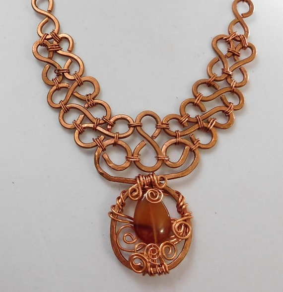 Carnelian Necklace Unique Wire Wrapped Gemstone Artisan Crafted Statement Jewelry One of a Kind Copper Wearable Art Present Ideas for Women
