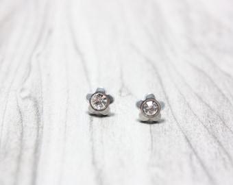 Stainless Steel Flower Studs, Crystal Flower Stud Earrings, 6mm Flowers