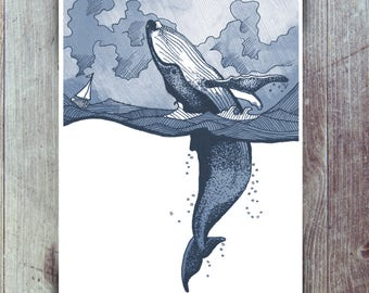 Hump Back Whale breaching in Stormy Seas with tiny boat - A5/A4/A3 or A2 nautical themed giclee print. Ocean/Sea/Nature illustration wallart