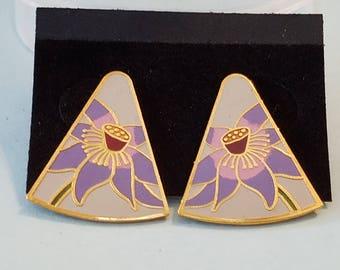Vintage Laurel Burch Flower earrings, Laurel Burch earrings, pierced earrings, Laurel Burch,