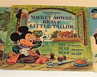 3 Different 1977 Read Along Books Fox and Hound, Mickey Mouse, Peter & The Wolf 33 1/3 Record