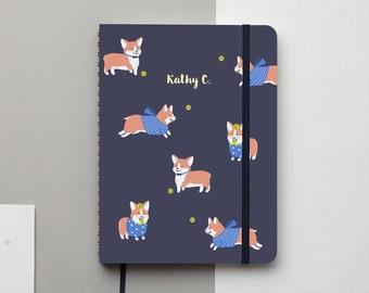 Corgi Navy Gold Foil Personalized Notebook/Sketchbook