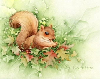 "Animal Art 8x10 Print ""Happy Squirrel"" Wildlife Art"