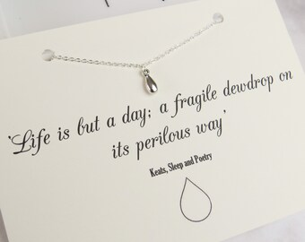 Silver Dewdrop Necklace - Keats Quote - Dainty Silver Necklace - Literary Gift for Book Lover - Book Jewellery - Simple Necklace