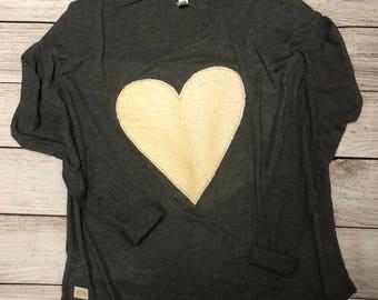 Terry cloth heart dolman tee