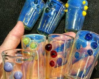 Handmade borosilicate silver fumed shot glass.
