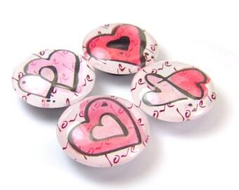 Heart Glass Magnet Set of 4 Pink Valentine's Magnets