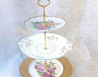 Pink and Gold Vintage plate Dessert Stand/Cake Stand, or Jewellry Stand /Three Tier /Great for your Shabby Chic Dessert Display