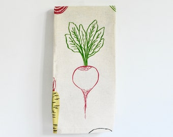 4 Napkin Set, Root Vegetable Cotton Napkin Set Screen Printed on Unbleached Cotton, Rustic Dinner Napkins, Farm to Table