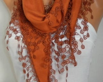 Burnt Orange Pashmina Scarf, Summer Scarf, Birthday Gift, Cowl Bridesmaid Bridal Accessories Gift Ideas for Her Women Fashion Accessories