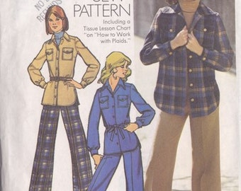 Misses Shirt - Jacket & Pants Pattern ~ Simplicity No 5854 ~ Size 10 Or 14 Pattern  ~ Cut but Complete