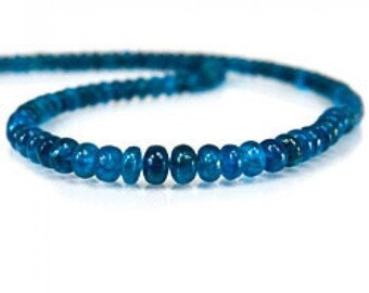 Neon Blue Apatite Beads Smooth Rondelles, Apatite Gemstone, Gemstone Beads, Gemstone Strand |05
